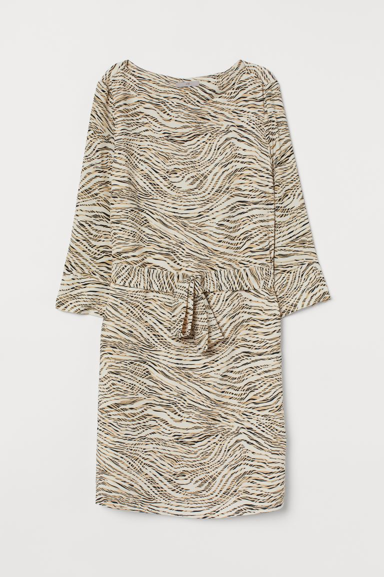 Dress with a tie belt - Beige/Tiger-striped - Ladies | H&M
