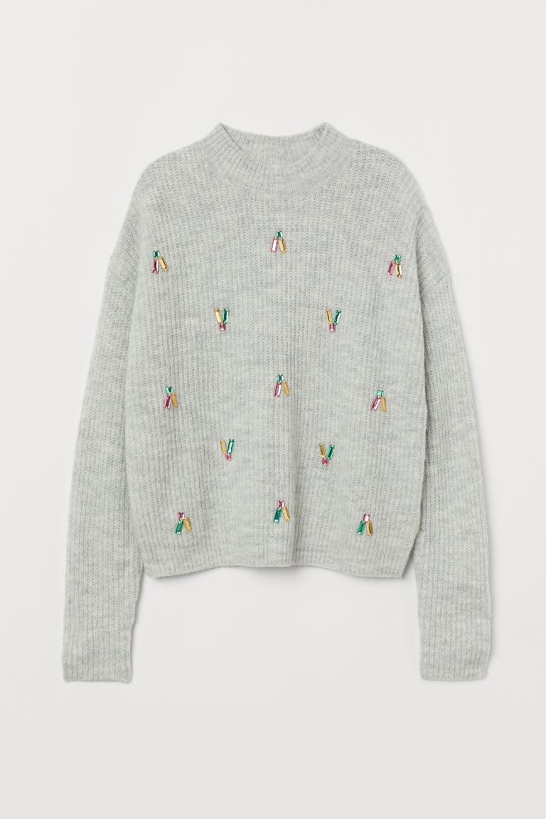 Jumper with sparkly stones - Light grey marl - Kids | H&M GB