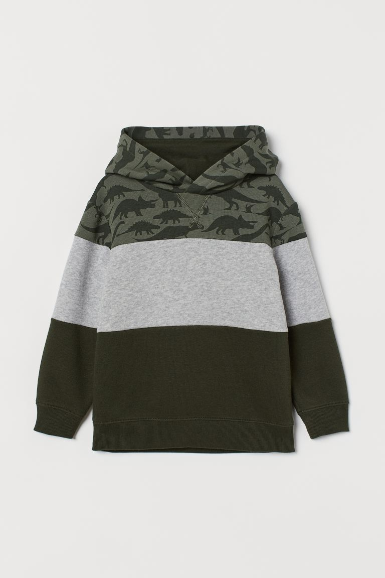 Hooded jumper - Khaki green/Block-coloured - Kids | H&M GB