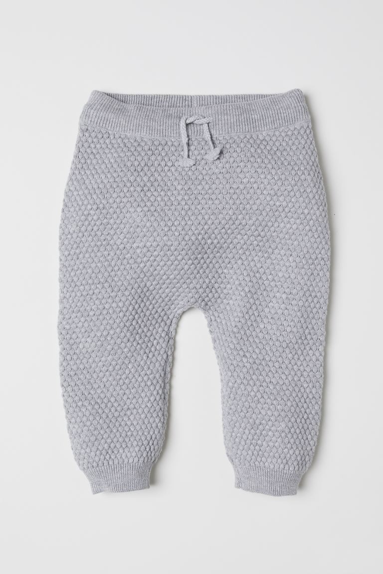 Textured-knit trousers - Light grey marl - Kids | H&M