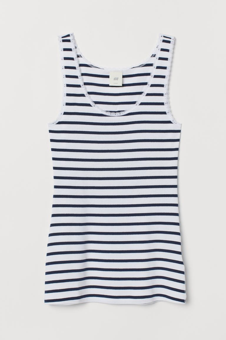 Vest top with lace trims - White/Dark blue striped - Ladies | H&M