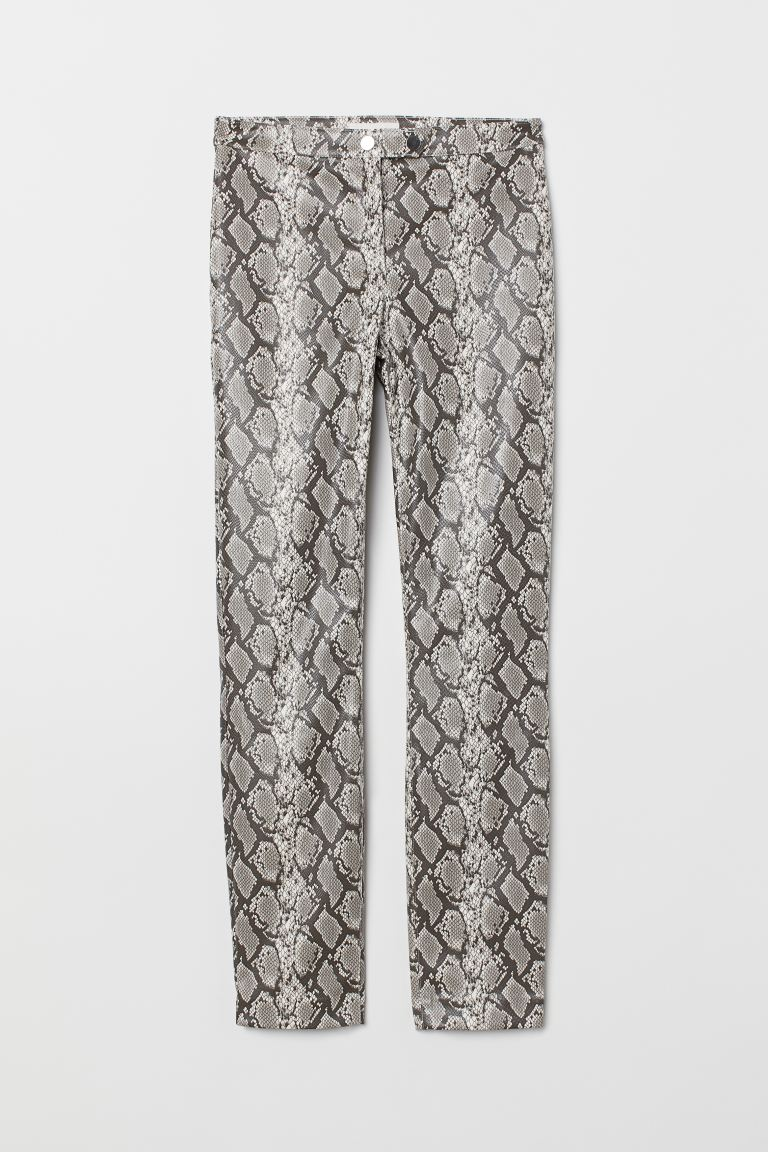 Snakeskin-patterned Pants - Gray/snakeskin-patterned - Ladies | H&M US