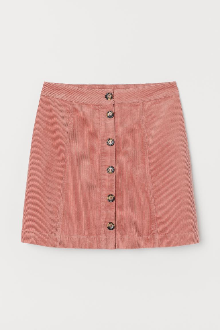 A-line skirt - Old rose/Corduroy - Ladies | H&M GB