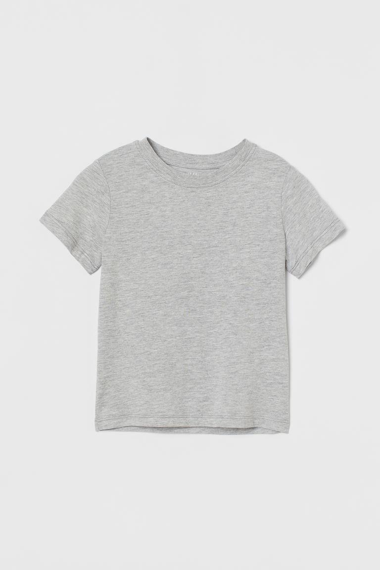 Cotton T-shirt - Light grey marl - Kids   H&M GB