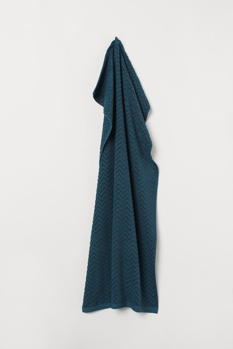 Jacquard-patterned Bath Towel - Dark turquoise - Home All | H&M US
