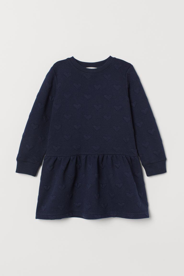Textured dress - Dark blue/Hearts - Kids | H&M GB