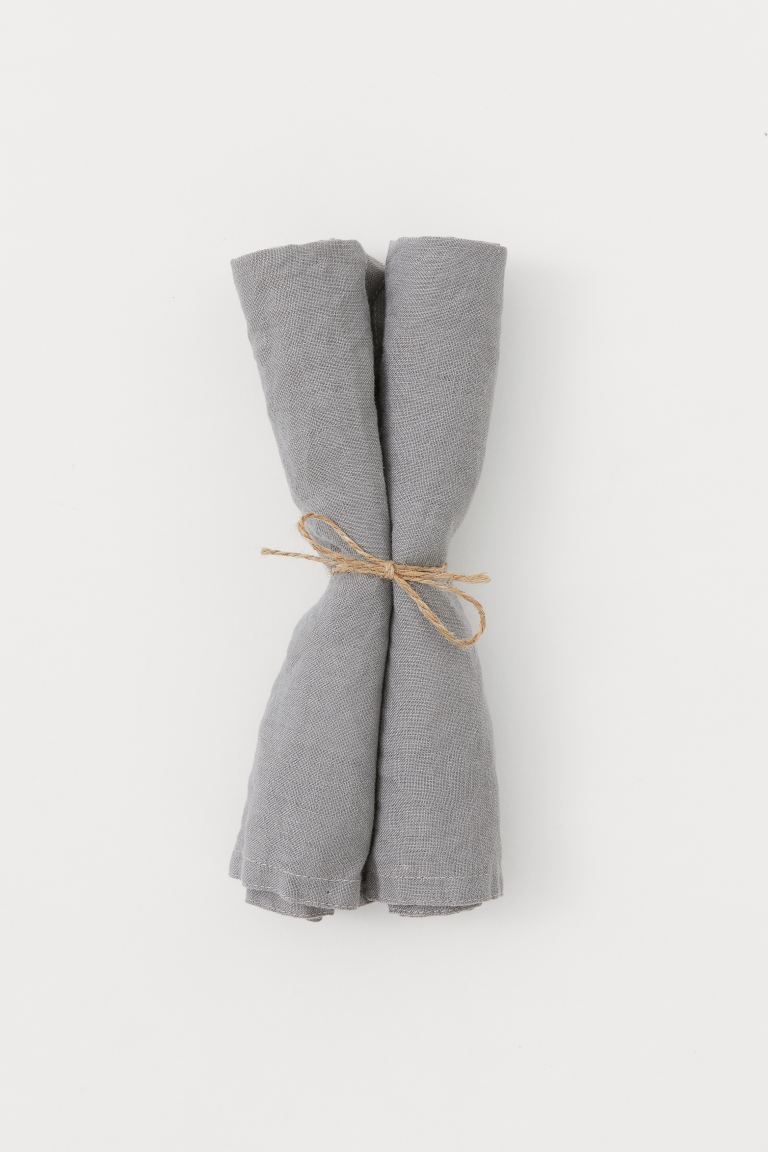 Serviettes en lin, lot de 2 - Gris foncé - Home All | H&M CA