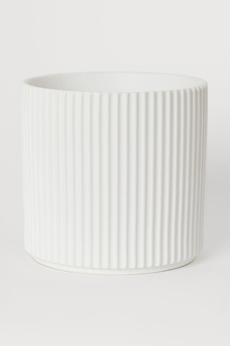Großer Übertopf aus Steingut - Weiß - Home All | H&M AT