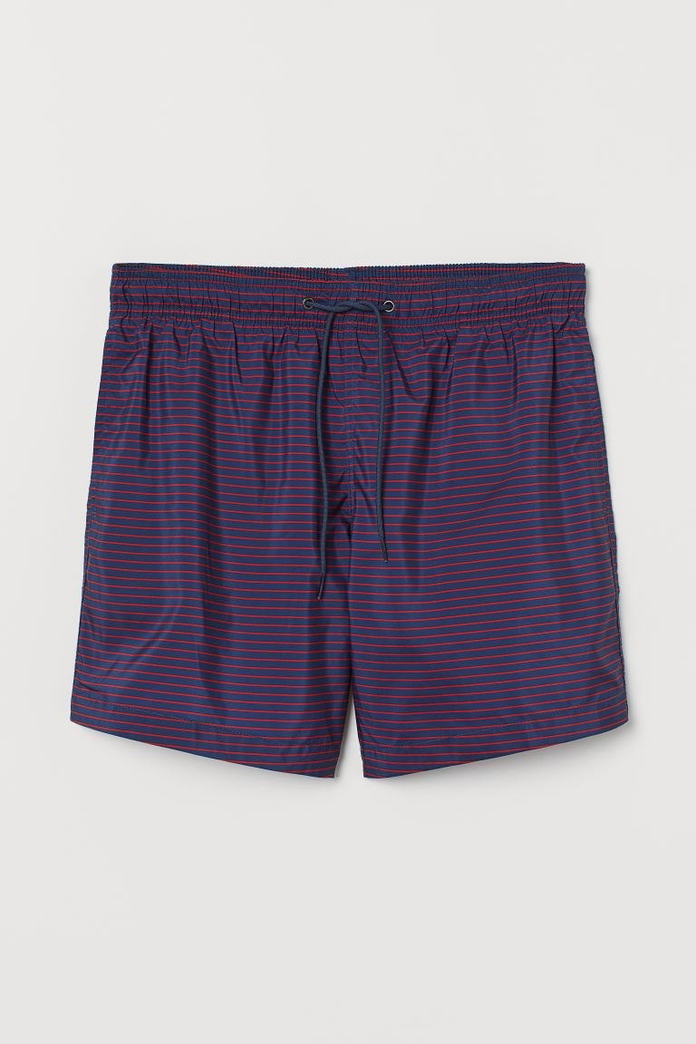 Printed Swim Shorts - Dark blue/red striped - Men | H&M US