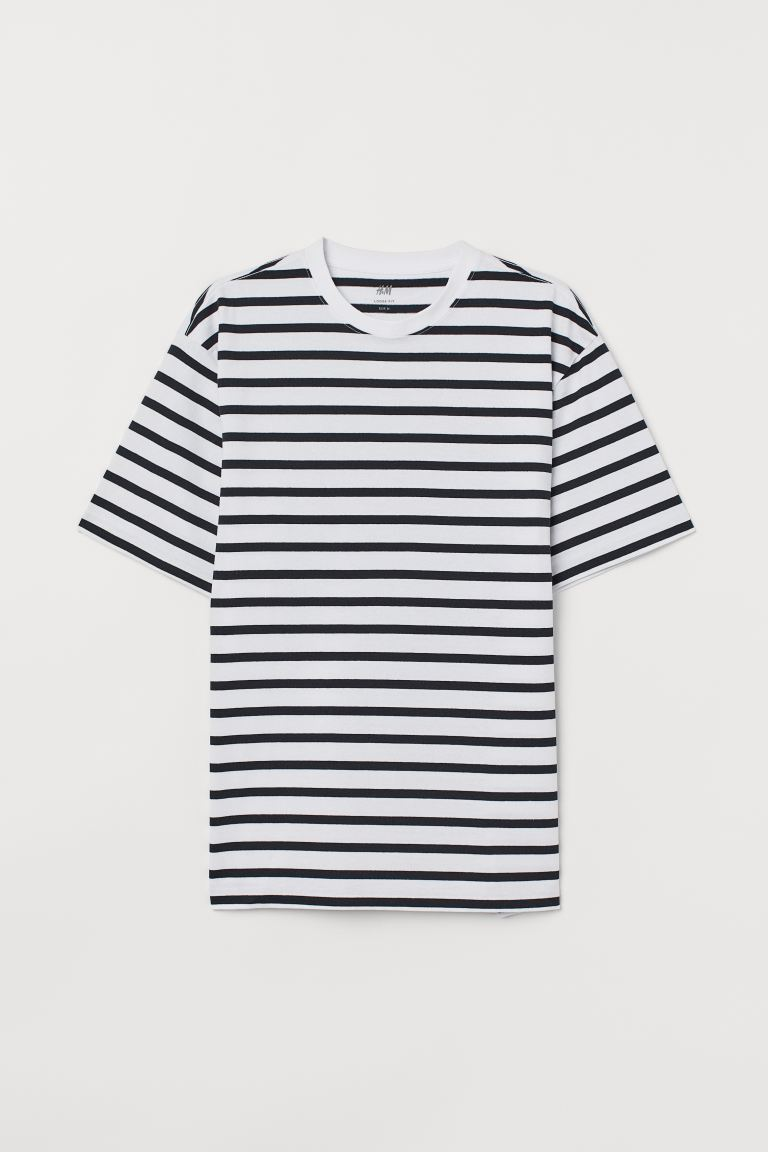 T-shirt Relaxed Fit - Dark blue/White striped - Men | H&M