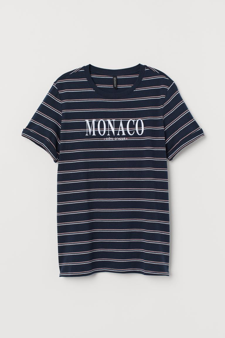 T-shirt with a motif - Dark blue/Monaco - Ladies | H&M GB
