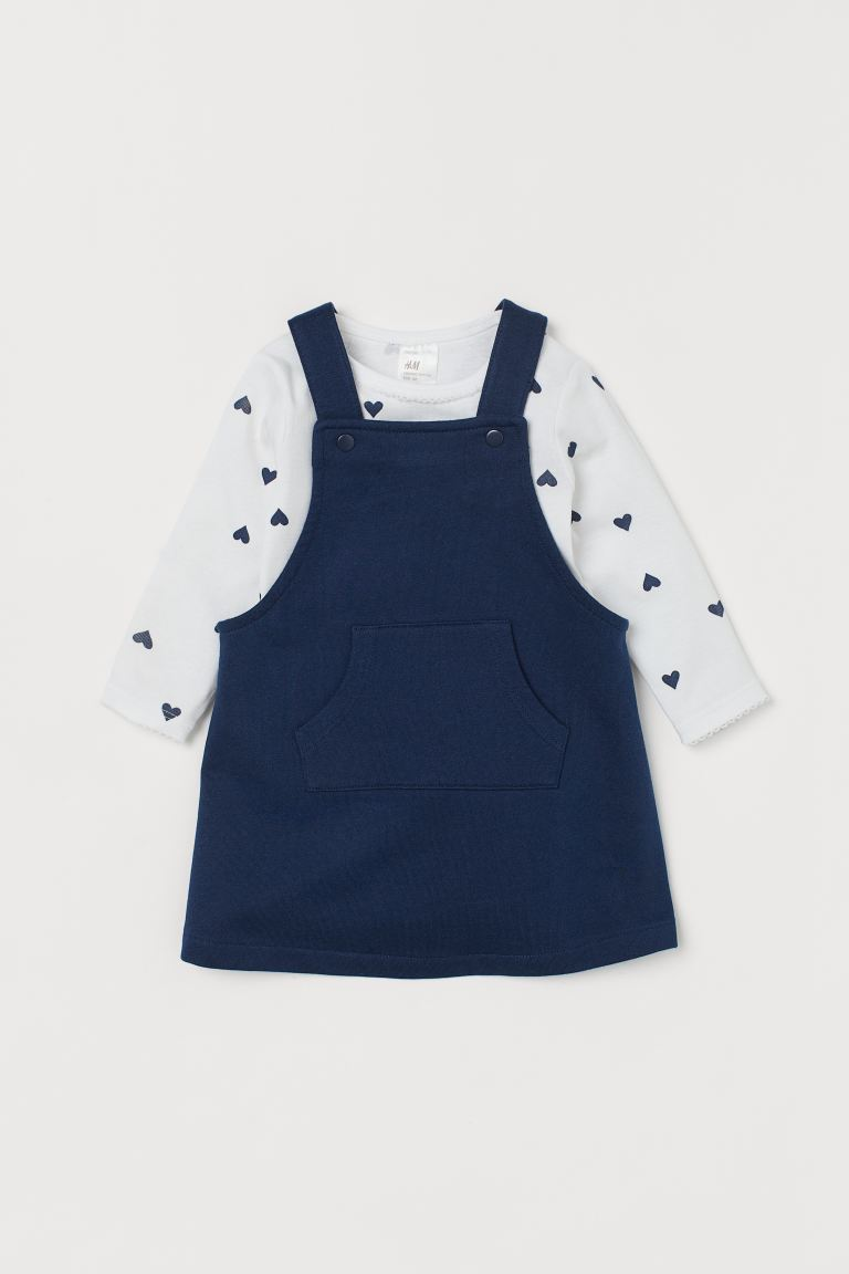 Overall Dress and Bodysuit - Dark blue - Kids | H&M CA