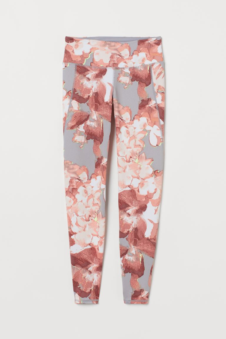 Sports tights Shaping Waist - Light grey/Floral - Ladies | H&M IE