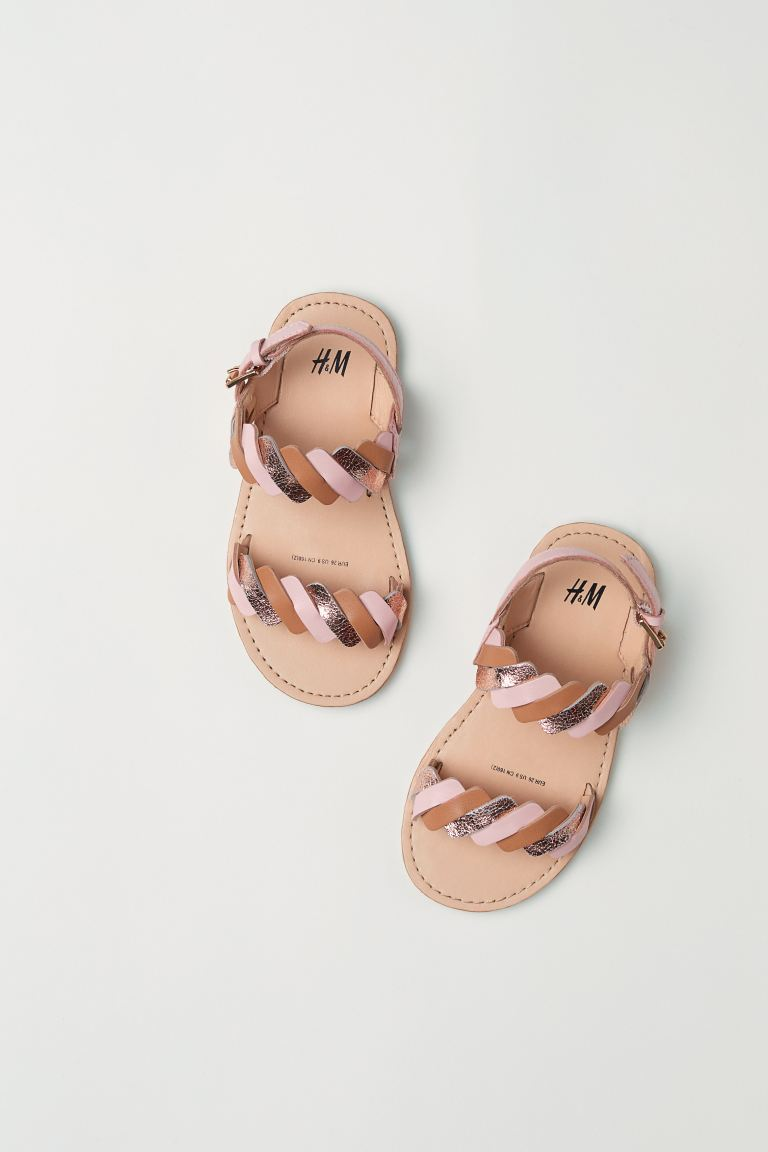 Leather sandals - Light pink - Kids | H&M GB