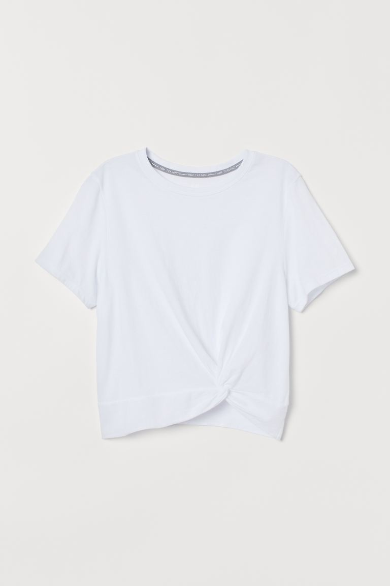Knot-detail sports top - White - Ladies | H&M