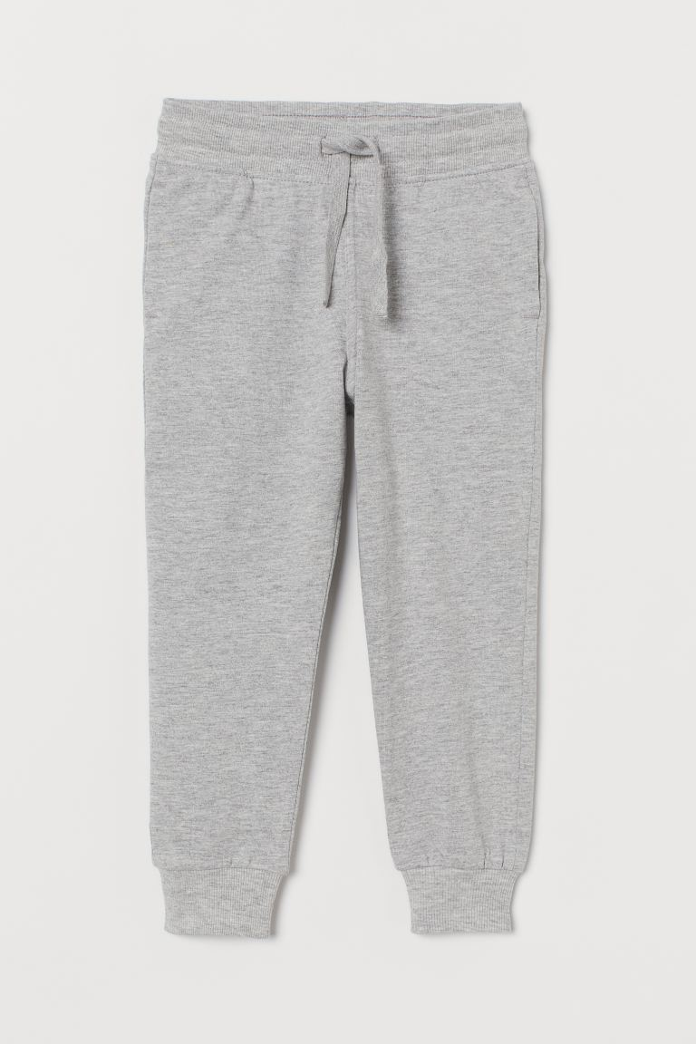 Cotton jersey joggers - Grey marl - Kids | H&M