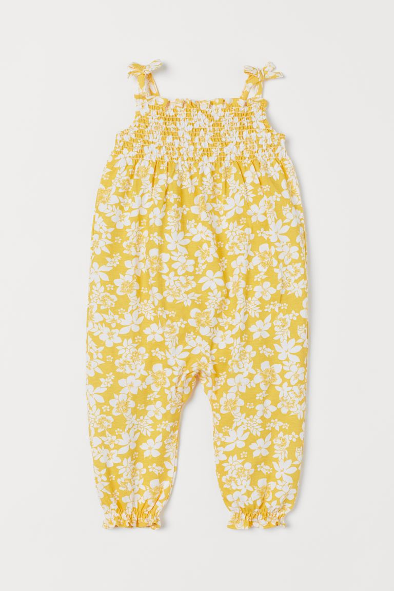 Smocked romper suit - Yellow/Floral - Kids | H&M