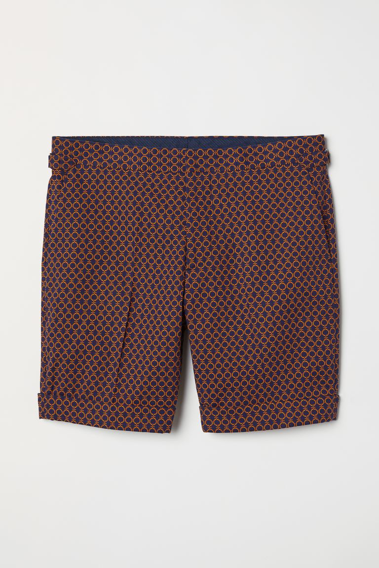 Jacquard-weave city shorts - Dark blue/Yellow patterned - Men | H&M GB