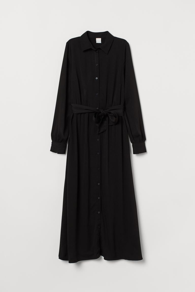Shirt dress with a tie belt - Black - Ladies | H&M GB
