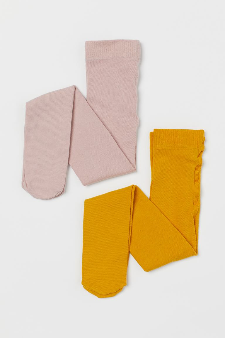 2-pack fine-knit tights - Mustard yellow/Dusky pink - Kids | H&M