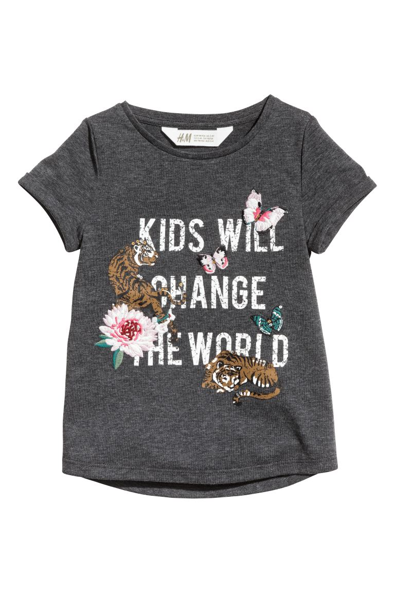 Short-sleeved top - Dark grey/Tigers - Kids | H&M GB