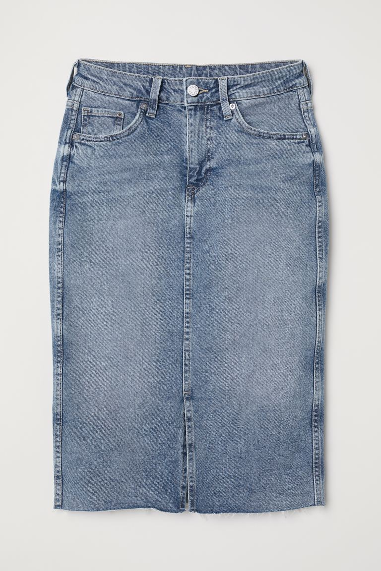 Knee-length denim skirt - Denim blue - Ladies | H&M