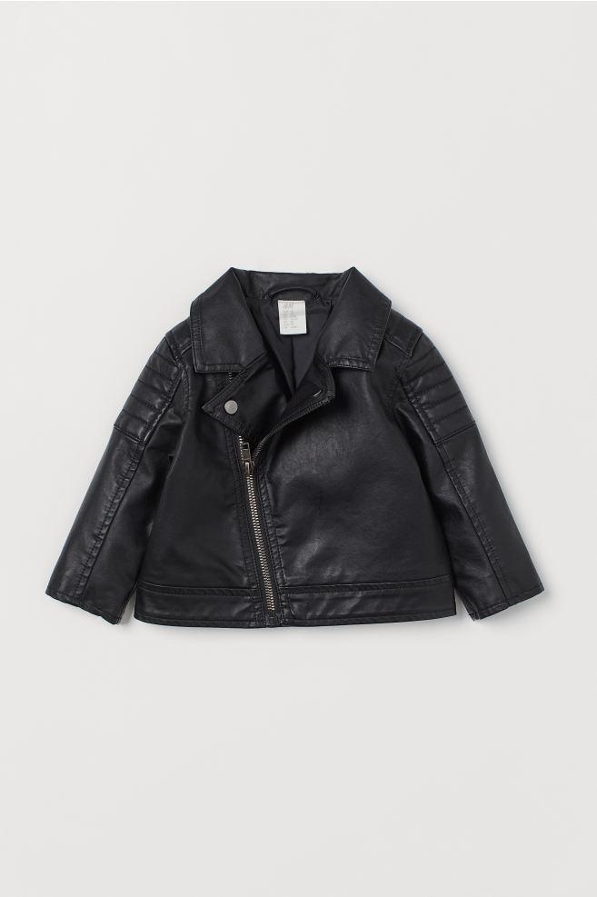 Imitation leather biker jacket