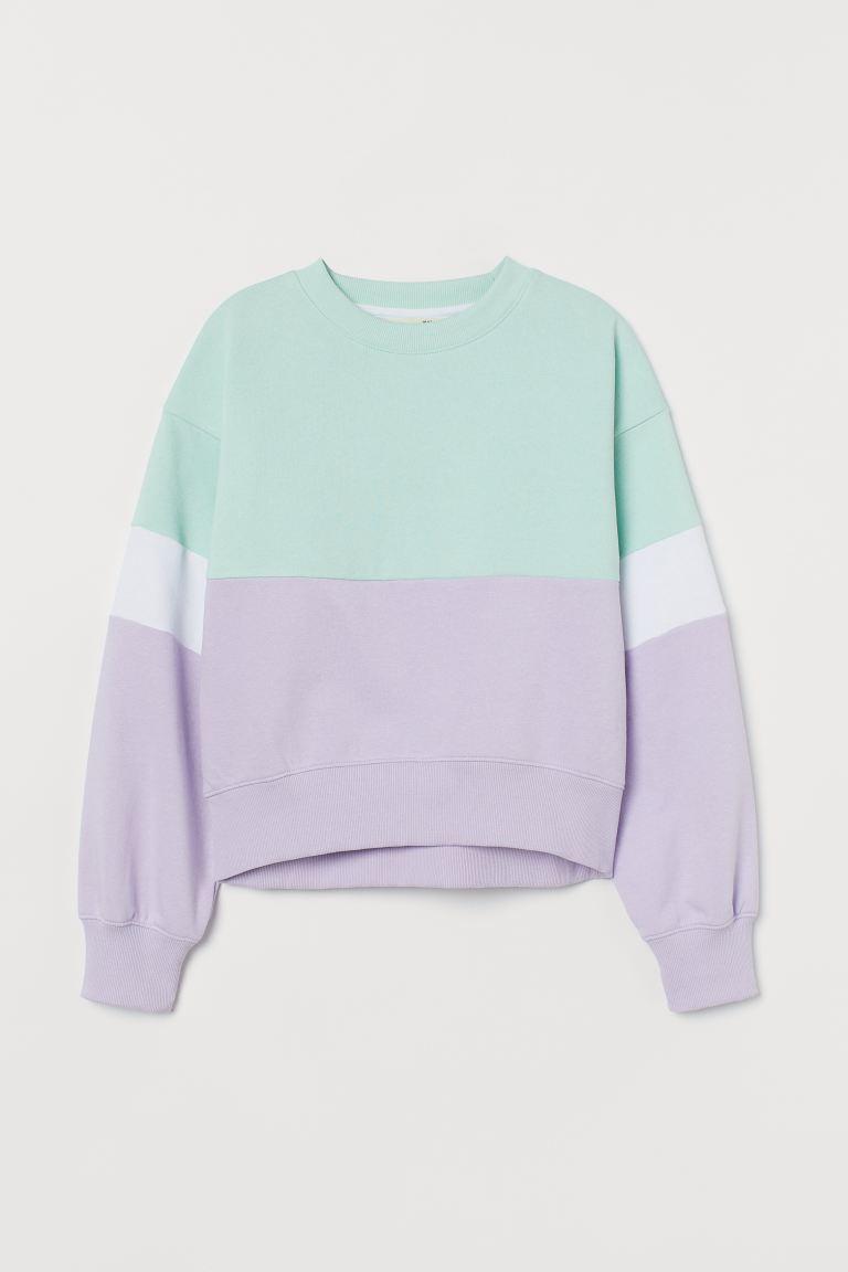 Sweatshirt - Mint green/White/Light purple - Kids | H&M GB