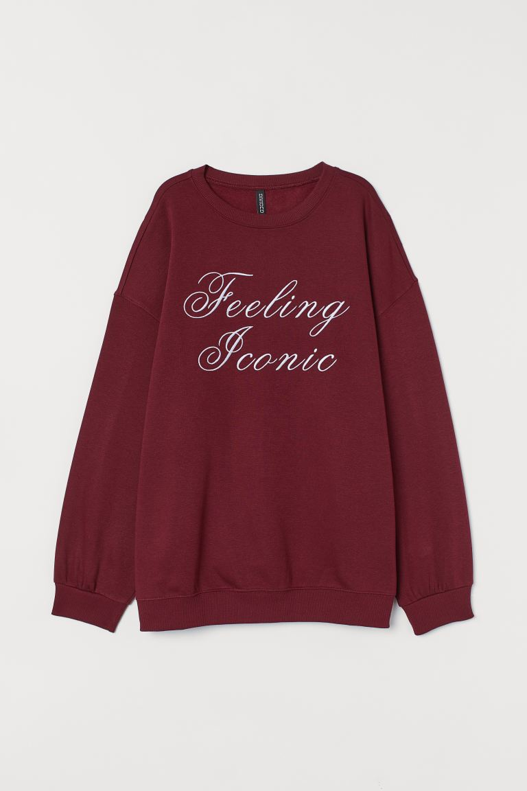 Text-print sweatshirt - Burgundy/Feeling Iconic - Ladies | H&M