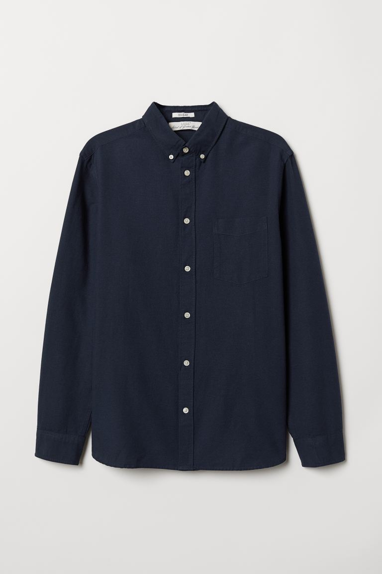 Regular Fit Oxford Shirt - Dark blue - Men | H&M US