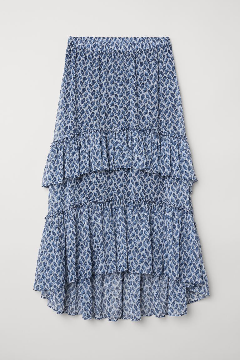 Patterned maxi skirt - White/Blue patterned - Ladies | H&M GB