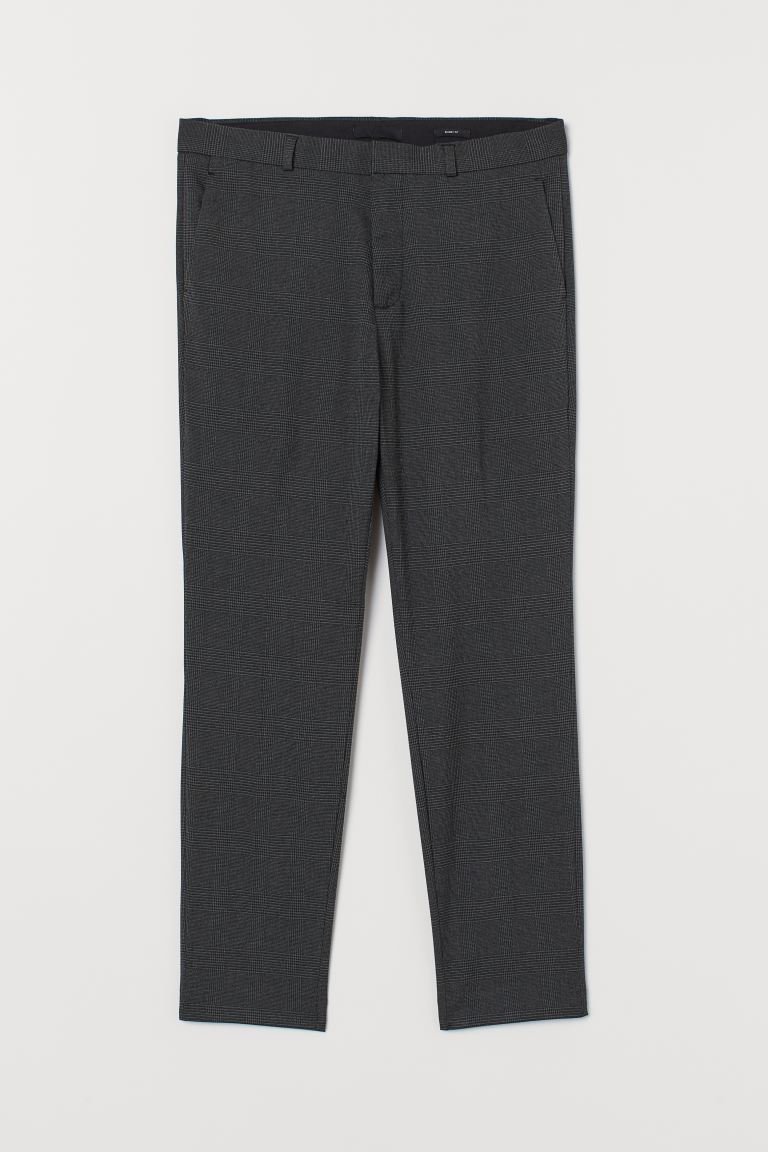 Pantaloni completo Skinny Fit - Grigio scuro/quadri - UOMO | H&M IT