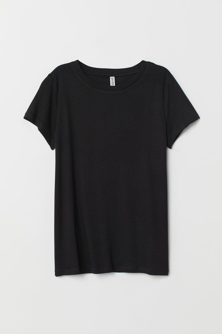 Jersey T-shirt - Black - Ladies | H&M GB