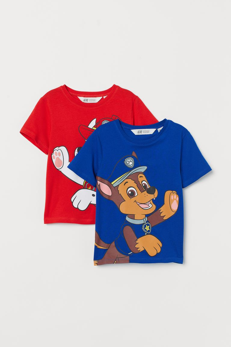 2-pack printed T-shirts - Cornflower blue/Paw Patrol - Kids | H&M GB