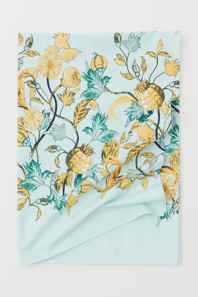 Patterned Cotton Tablecloth - Light turquoise/floral - Home All | H&M CA