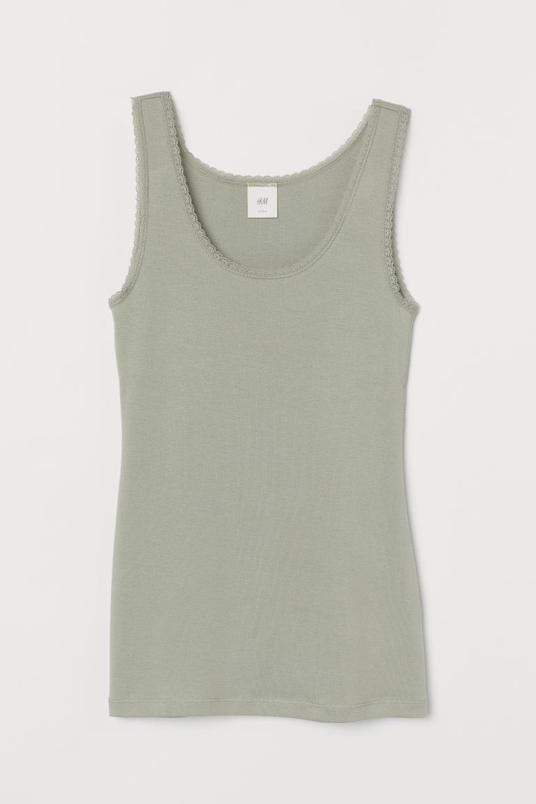 Vest top with lace trims - Sage green - Ladies | H&M GB