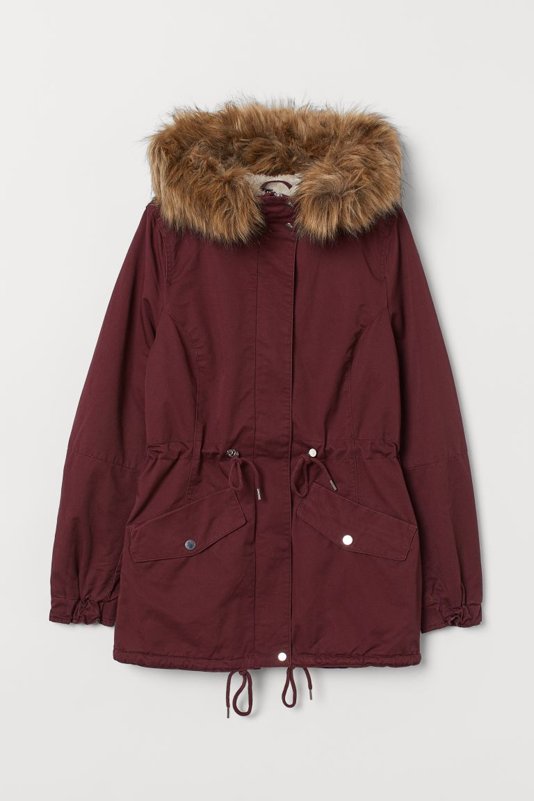 Parka met teddy voering - Bordeauxrood - DAMES | H&M BE