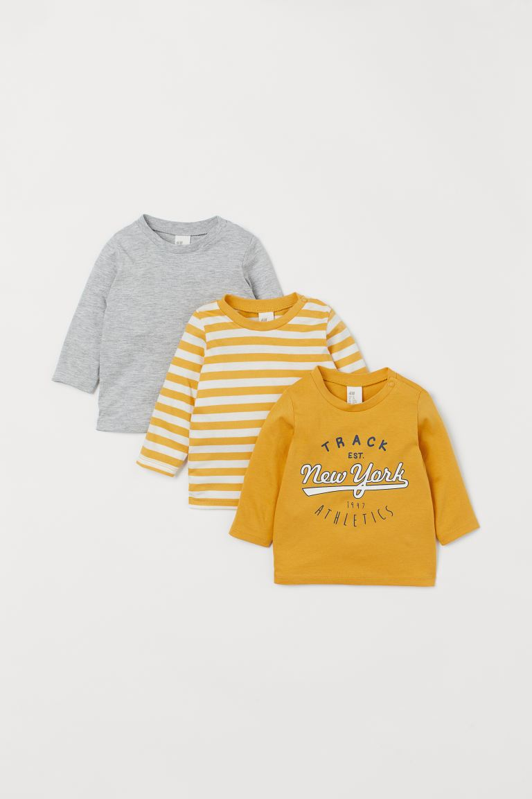 3-pack cotton tops - Yellow/New York - Kids | H&M