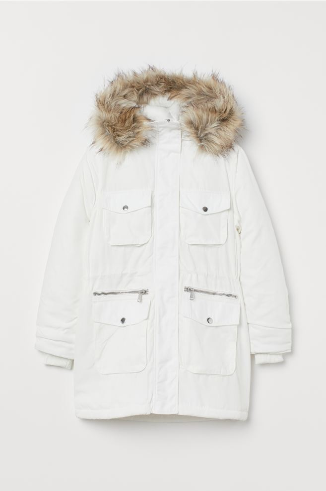 Ladies White Parka Coat