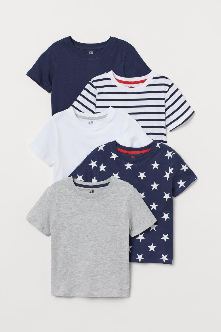 5-pack cotton T-shirts - Dark blue/Stars - Kids | H&M GB