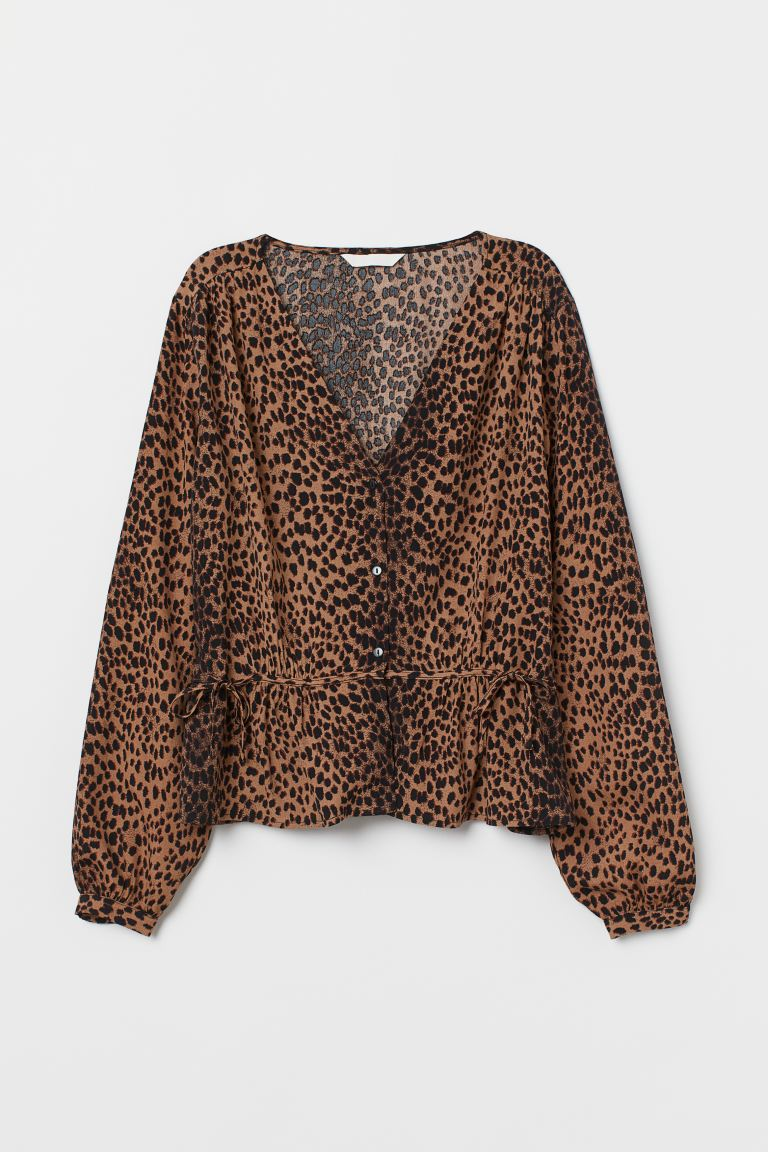 Camicetta increspata - Marrone/leopardato - DONNA | H&M IT