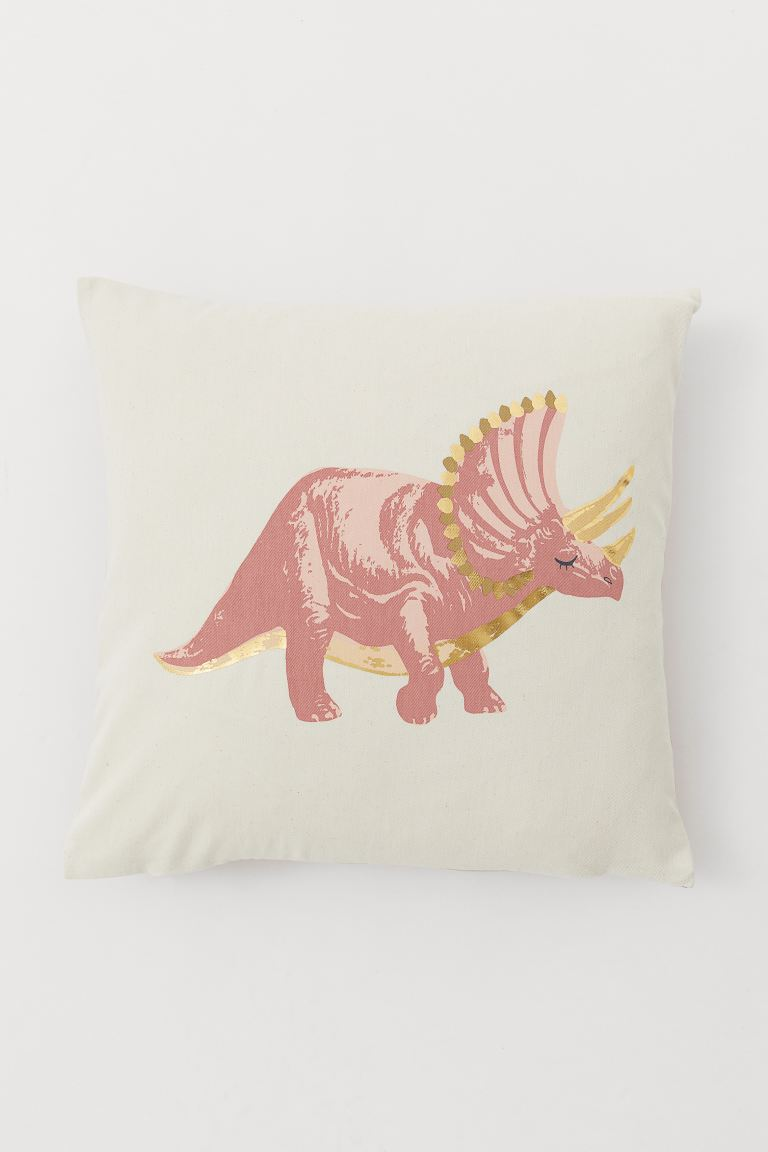 Cotton twill cushion cover - Natural white/Triceratops - Home All | H&M IE