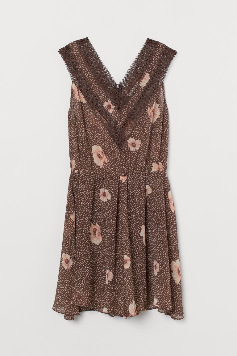 Chiffon playsuit - Brown/Floral - Ladies | H&M GB