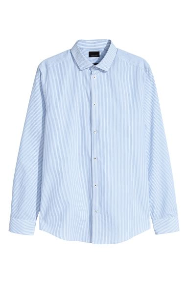 Premium cotton shirt - Light blue/White striped - Men | H&M IE