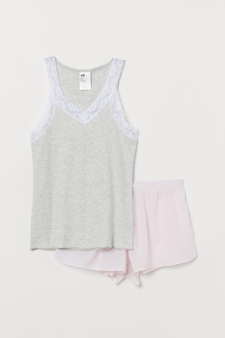 Pyjama vest top and shorts - Light grey marl/Pink striped - Ladies | H&M GB