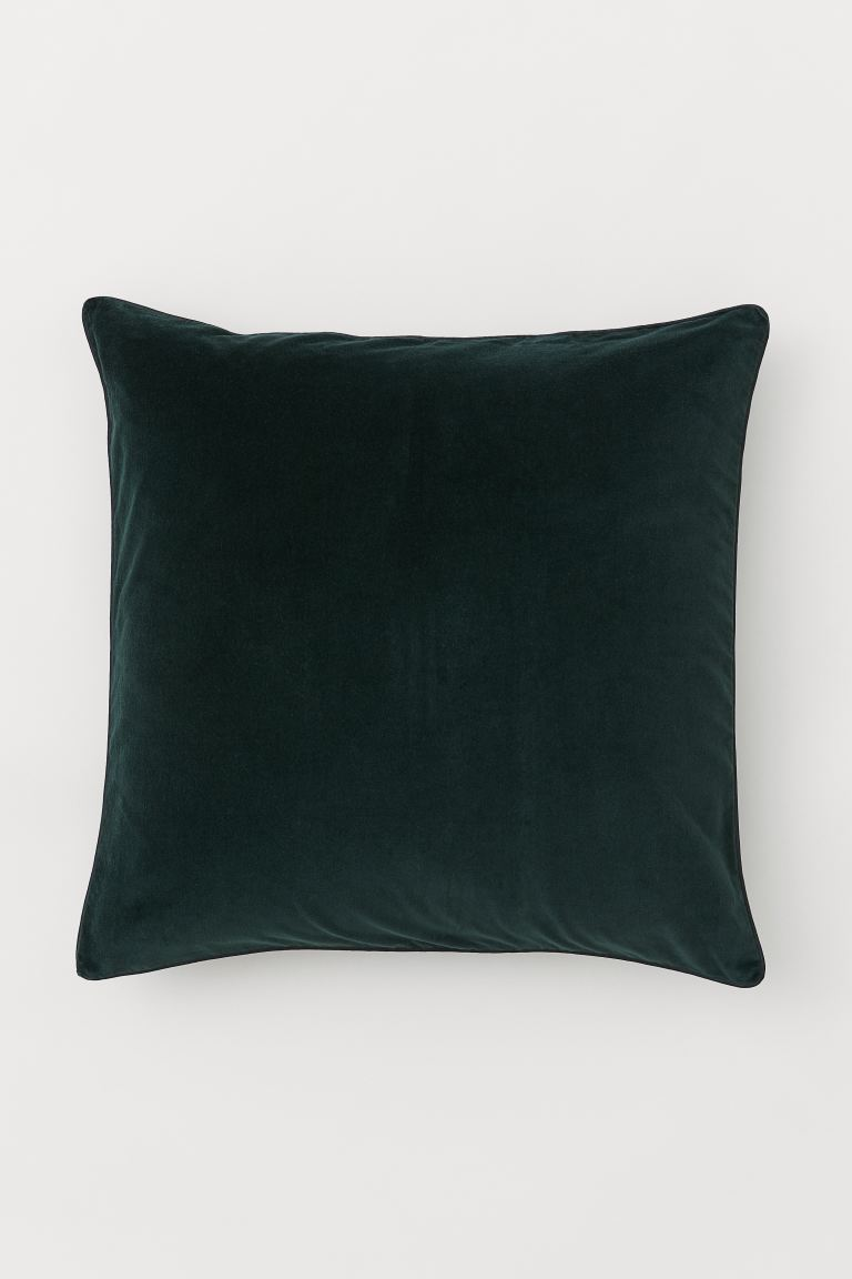 Cotton velvet cushion cover - Dark green - Home All | H&M IE