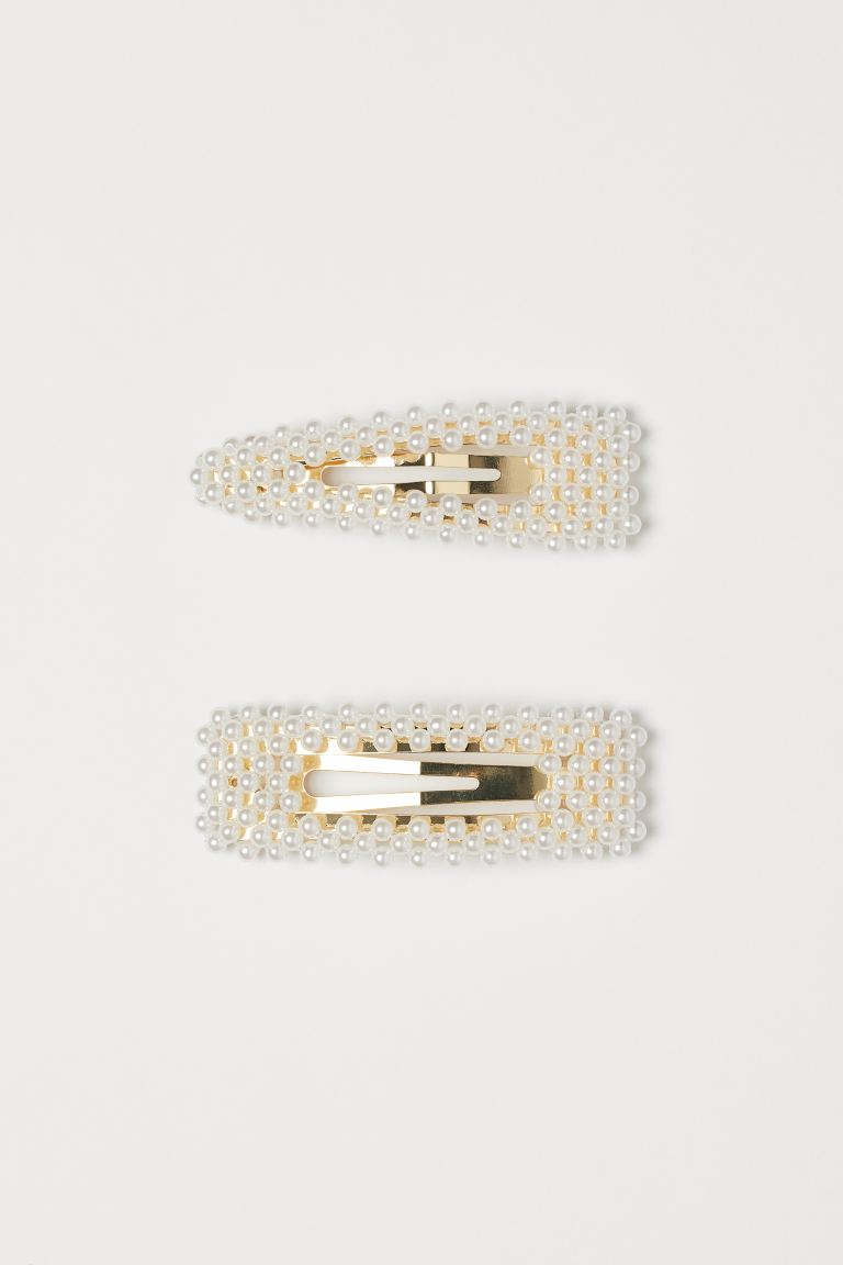 2-pack Hair Clips with Beads - Gold-colored/white -  | H&M US