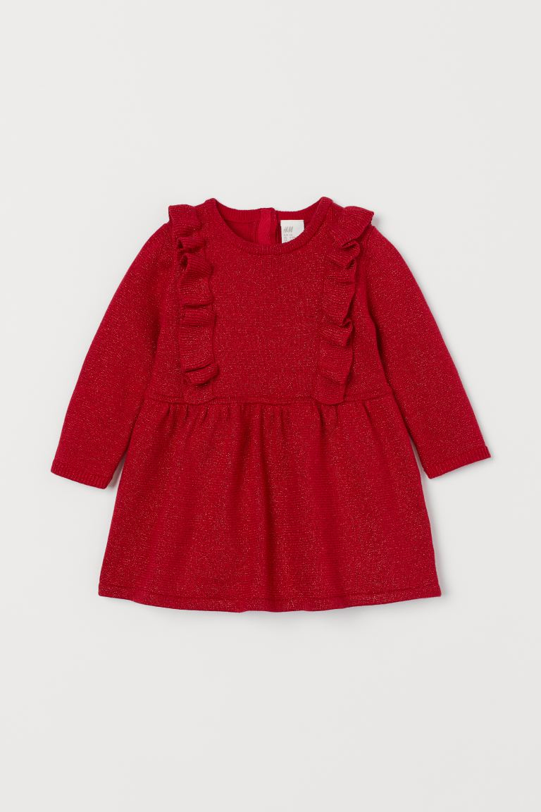 Knit Dress with Ruffles - Red/glittery - Kids | H&M CA