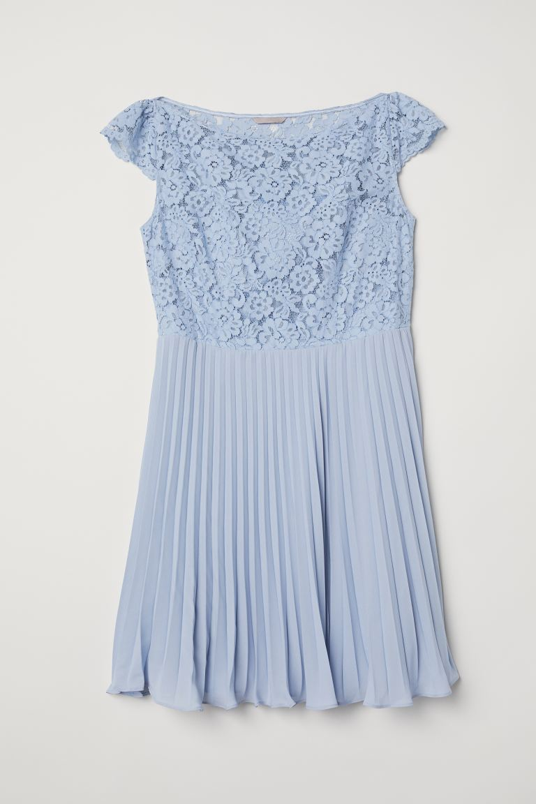 H&M+ Pleated dress - Light blue - Ladies | H&M IE