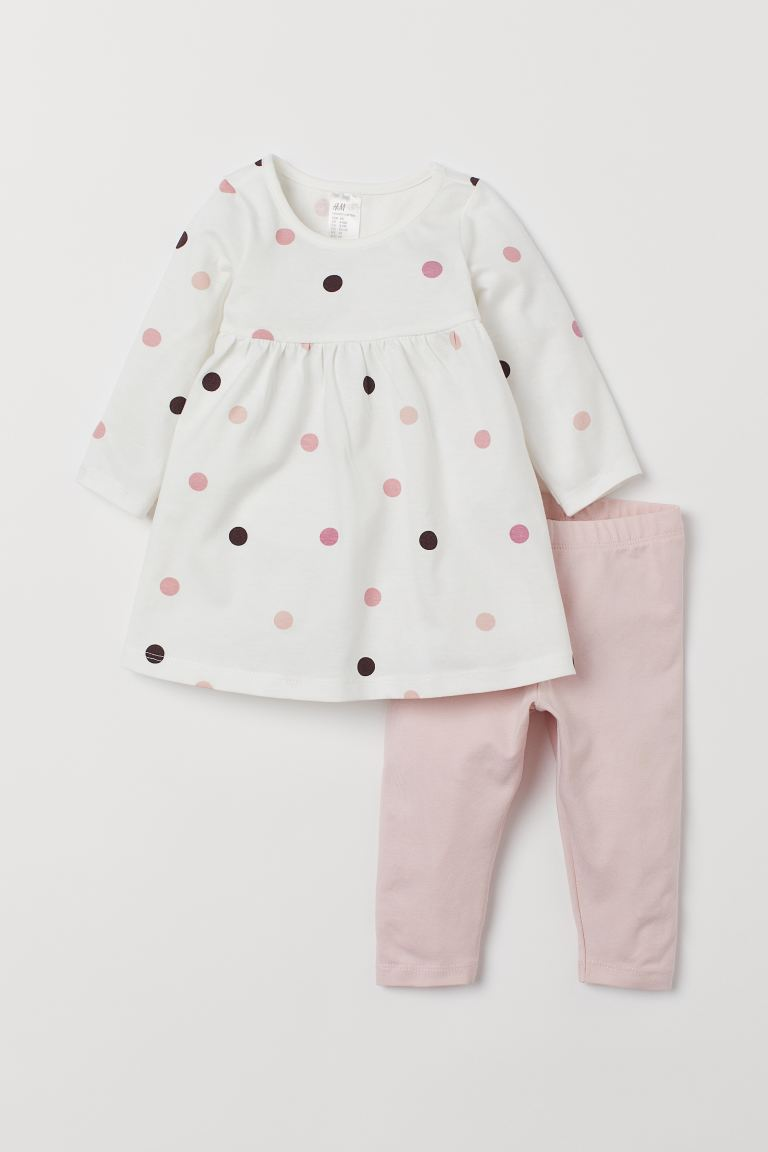 Jersey Dress and Leggings - White/pink dotted - Kids | H&M CA